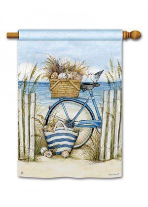 Beach Bike House Flag | Yard Flags | Summer Flags | Beach Flags | Flags