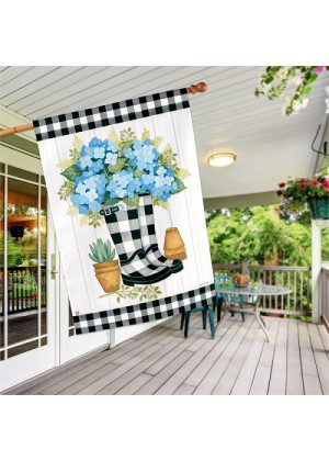 Black & White Wellies House Flag | Spring Flags | House Flag | Cool Flags