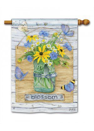 Blossom Jar House Flag | Summer Flags | Floral Flags | Farmhouse Flags