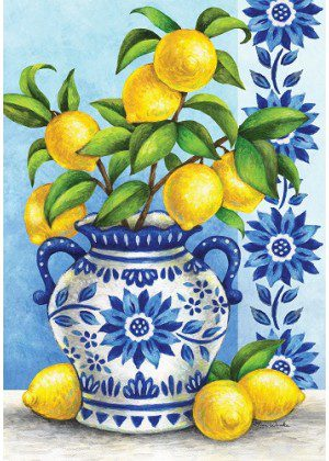 Blue Willow & Lemons Flag | Spring Flags | Floral Flags | Cool Flags