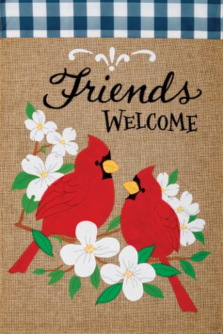 Cardinal Friends Flag | Burlap Flag | Bird Flag | Two Sided Flag | Cool Flag