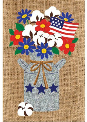 Cotton Milk Can Flag | Burlap Flags | 4th of July Flags | Double Sided Flag
