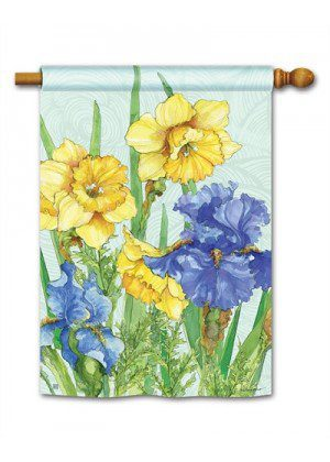 Daffodils & Irises House Flag | Spring Flags | Floral Flags | Yard Flags