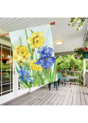 Daffodils & Irises House Flag | Spring Flags | Floral Flags | House Flags