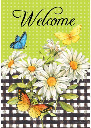 Daisies & Butterflies Flag | Spring Flags | Two Sided Flag | Welcome Flags