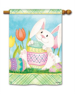 Easter Bunny Here House Flag | Easter Flags | Yard Flags | Holiday Flags