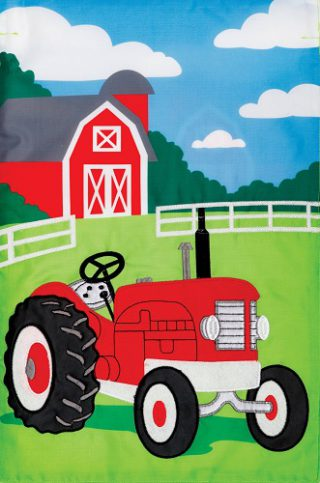Farm Tractor Flag | Applique Flags | Farmhouse Flag | Double Sided Flags