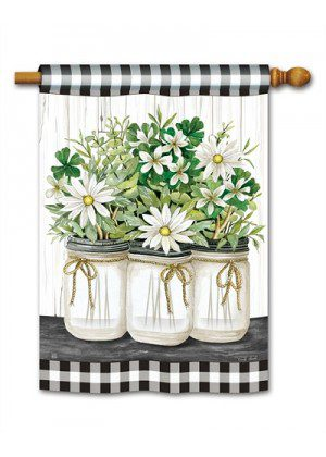 Farmhouse Daisies House Flag | Floral Flag | Farmhouse Flags | Yard Flag