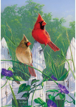 Fence Cardinals Flag | Spring Flags | Floral Flags | Cool Flags | Bird Flag