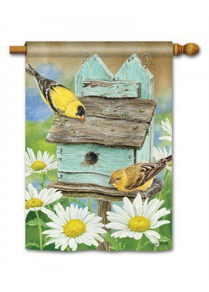 Finches & Flowers House Flag | Floral Flags | Spring Flags | Bird Flags