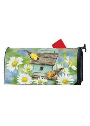 Finches & Flowers Mailbox Cover | Mailbox Covers | Decorative Mailwraps