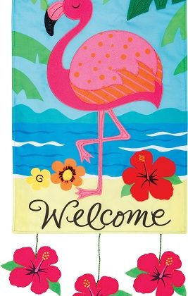 Flamingo Welcome Applique Flag | Applique Flags | Welcome Flags | Flags