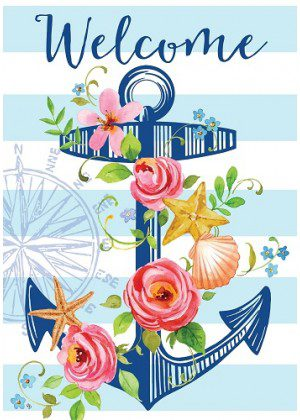 Floral Anchor Flag | Summer Flags | Cool Flag | Welcome Flag | Floral Flag