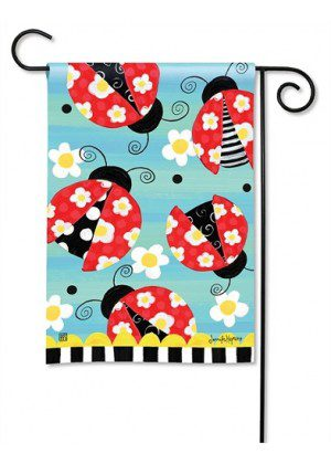 Folk Ladybugs Garden Flag | Cool Flags | Spring Flags | Floral Flags