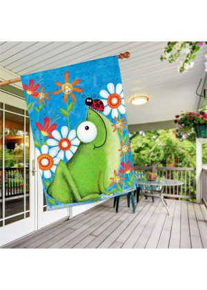 Frog Fun House Flag   Summer Flags   Spring Flags   House Flags