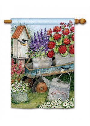Garden Wagon House Flag | Spring Flags | Floral Flags | Yard Flags