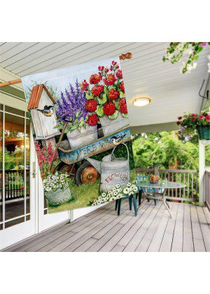 Garden Wagon House Flag | Spring Flags | Welcome Flags | House Flags