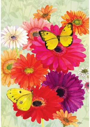 Gerberas & Butterflies Flag | Spring Flags | Floral Flags | Cool Flags