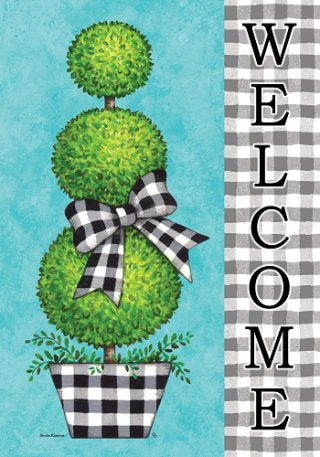 Gingham Topiary Flag   Summer Flags   Two Sided Flags   Welcome Flags