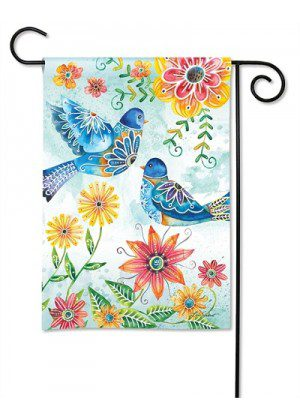 Happy Bluebirds Garden Flag | Floral Flags | Spring Flags | Bird Flags