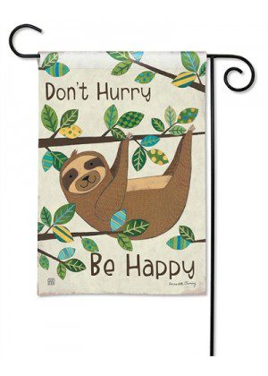 Happy Sloth Garden Flag | Yard Flags | Inspirational Flags | Animal Flags