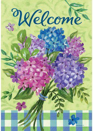 Blue Hydrangeas Welcome Flag | Spring Flag | Floral Flag | Welcome Flag