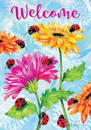 Ladybugs & Flowers Flag | Spring Flags | Two Sided Flag | Welcome Flags
