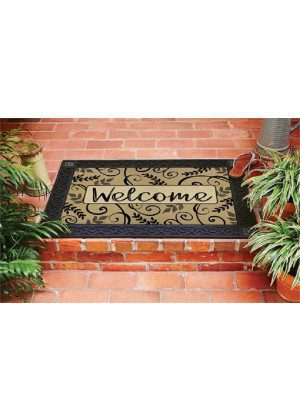 Leafy Scroll Welcome Doormat | Decorative Doormat | Doormat | MatMates