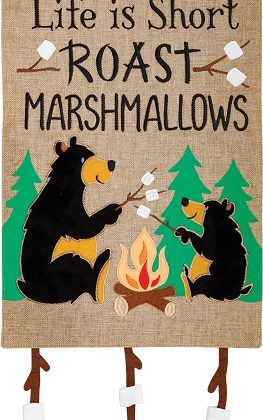 Marshmallow Bears Flag | Burlap Flags | Summer Flags | Two Sided Flags
