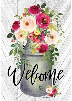 Milk Can Flowers Flag | Welcome Flag | Farmhouse Flag | Two Sided Flag