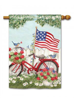 Patriotic Bike House Flag | Patriotic Flags | 4th of July Flags | Summer Flag