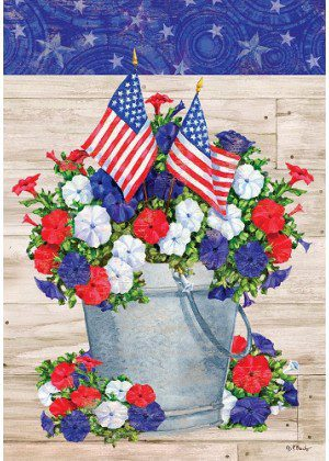 Patriotic Pail Flag | 4th of July Flags | Patriotic Flag | Floral Flag | Cool Flag