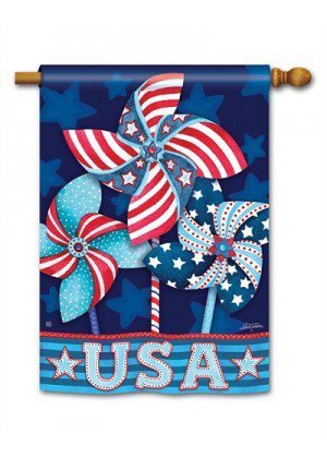 Patriotic Pinwheels House Flag | Patriotic Flags | 4th of July Flags | Flags