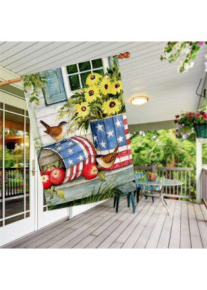 Patriotic Planters House Flag | Patriotic Flags | 4th of July Flags | Bird Flag