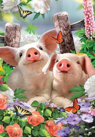 Piglets Flag | Spring Flags | Farmhouse Flags | Floral Flags | Animal Flags