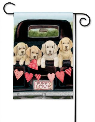Puppy Love Garden Flag | Animal Flag | Yard Flags | Valentine's Day Flags