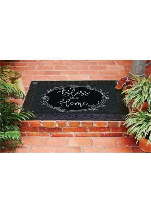 Rustic Wreath Blessing Doormat | Decorative Doormat | Matmates