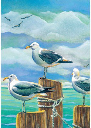 Seagull Pilings Flag | Summer Flags | Cool Flags | Bird Flags | Beach Flag