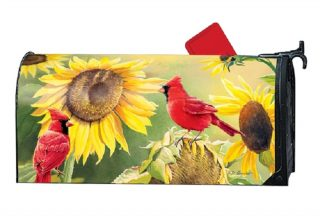 Sunflower Cardinal Mailbox Cover | Mailbox Covers | Decorative Mailwraps