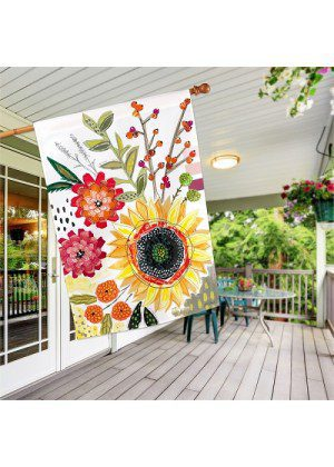 Sunflower Snippets House Flag   Summer Flags   Floral Flags   House Flag