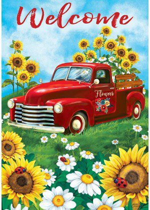 Sunflower Truck Flag | Welcome Flag | Farmhouse Flag | Two Sided Flags