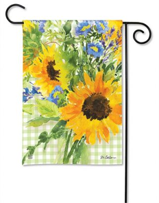 Sunflowers on Gingham Garden Flag | Flags | Spring Flags | Yard Flags