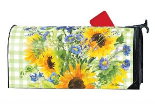 Sunflowers on Gingham Mailbox Cover | Mailbox Covers | Mailwraps