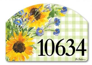 Sunflowers on Gingham Yard Sign   Yard Signs   Address Plaques   Signs