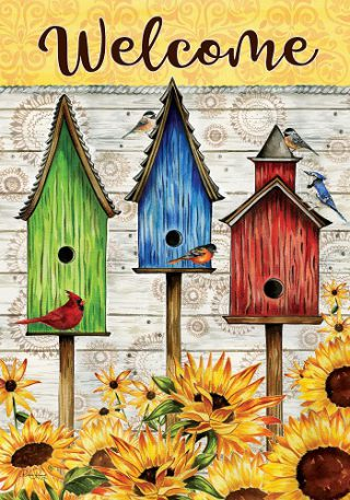 Sunny Birdhouse Flag | Spring Flags | Two Sided Flag | Welcome Flags