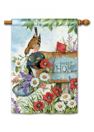 Sweet Home House Flag | Spring Flags | Floral Flags | Bird Flags | Flags