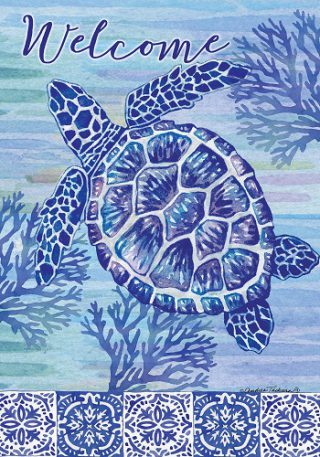 Turtles & Tiles Flag | Summer Flags | Double Sided Flags | Welcome Flags