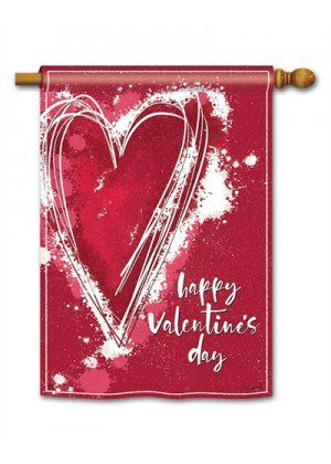 Valentine Heart House Flag | Valentine Flags | Valentine's Day Flags