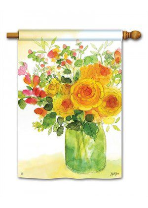 Yellow Roses House Flag | Spring Flags | Floral Flags | Yard Flags