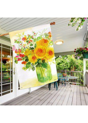 Yellow Roses House Flag   Spring Flags   Floral Flags   House Flags